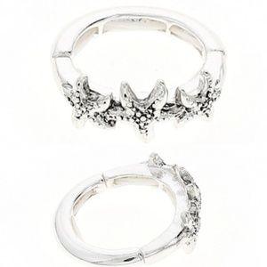 Silver-Toned Beachy Triple Starfish Ring, 7